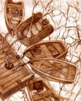 Boat Jam - Collagraph