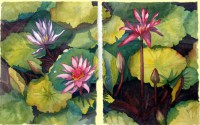 Lily Pond Companions - Diptych