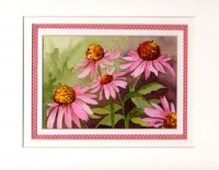 Purple Cone Flowers with Ribbon